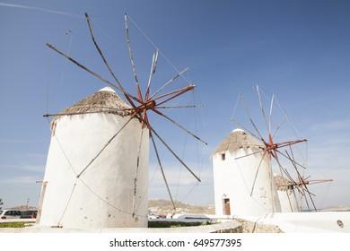 Windmills at Mykonos island in Greece