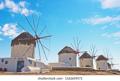 The windmills of Mykonos, one of the islands known sightseeings on a clear sunny spring day. Location Cyclades, Greece.