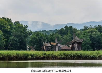 "Windmills in the Natural Park ""Dumbrava Sibiului"" in Sibiu city, Romania"
