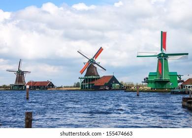 Windmills near Zaanse Schans, Netherlands