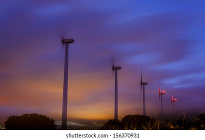 windmills at night in Spain, near to Madrid.