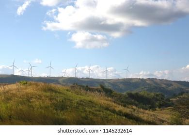 Windmills On Hill Summer Day