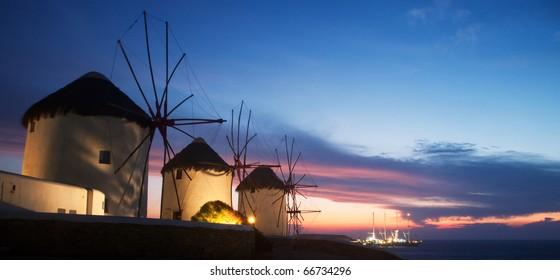 Windmills on the island of Mykonos (Greece) (at Night)