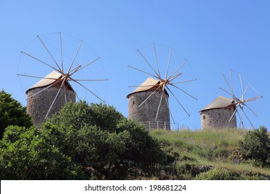 windmills on Patmos island, Greece