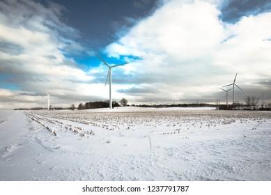 Windmills on snow at Buffalo, New York, USA