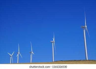 Windmills on a wind farm in Eastern Oregon