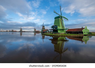 Windmills on the Zaanse Schans on a cloudy day