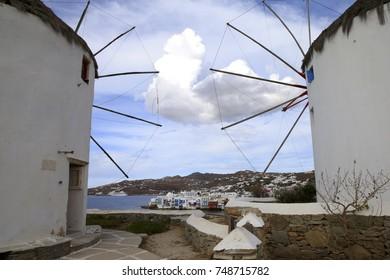 Windmills Overlooking Mykonos Greece