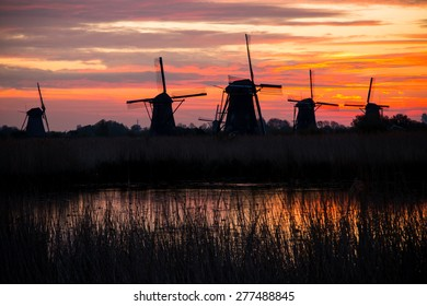 Windmills panorama in early morning sun in Kinderdijk, Netherlands.