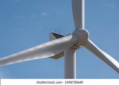 Windmills for power generation on a field in Germany Schleswig-Holstein