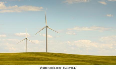 Windmills in the prairies. Southern Alberta Canada
