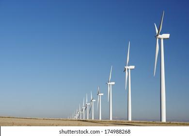 Windmills for renewable electric energy production, Pozuelo de Aragon, Zaragoza, Aragon, Spain