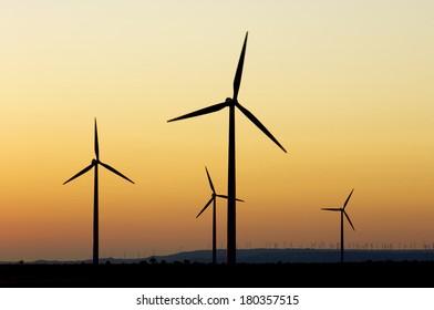 Windmills for renewable electric energy production, La Muela, Zaragoza, Aragon, Spain