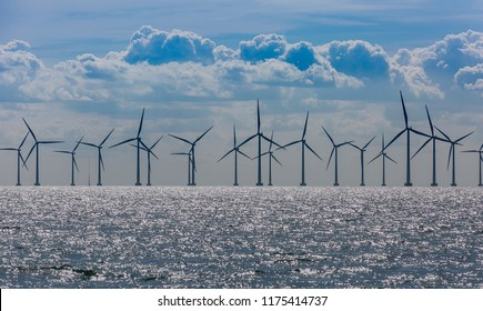 Windmills in the sea. Wind power. Green energy