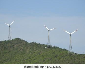 Windmills at Seegegudda Kaval, Hassan district, Karnataka, India