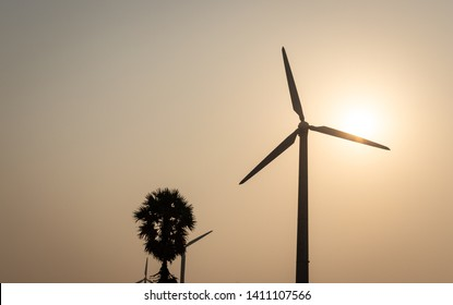 Windmills single in one direction with sun and tree . Wind energy is the real example of developing rural life. Image is taken at dawn. image is taken at Coimbatore
