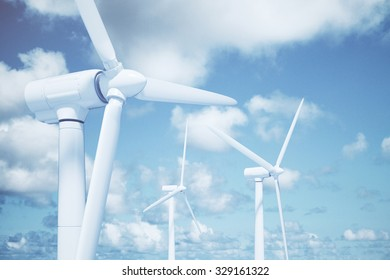 Windmills with the sky background and clouds