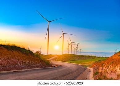 Windmills in sunset time at Khao Kho, Phetchabun, Thailand