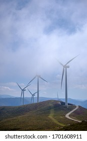 Windmills at the top of a mountain