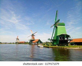 Windmills in the town of Zaanse Schans in the Netherlands - August 2018