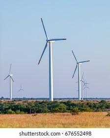 Windmills (Wind Generators) on the field, Bulgaria
