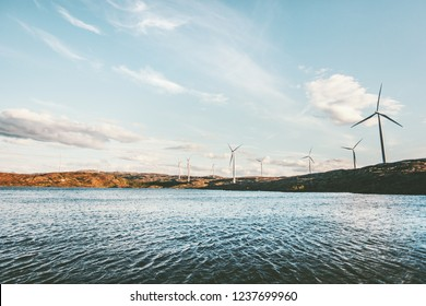 Windmills Wind turbines for electric power production in Sweden eco friendly concept