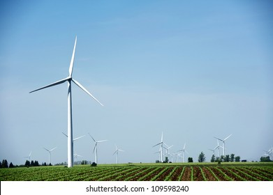 Windmills - Wind Turbines Landscape. Natural Energy Sources Theme. Technology Photography Collection.