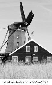 Windmills of Zaanse Schans, black and white photograph, Netherlands, North Holland
