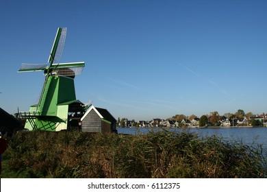 Windmills at ZAANSE SCHANS in holland