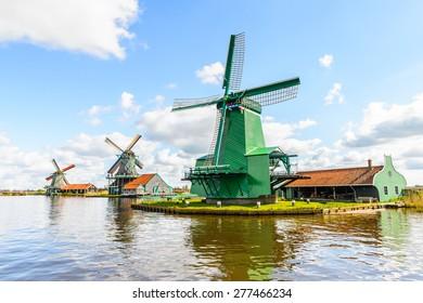 Windmills of Zaanse Schans, quiet village in Netherlands, province North Holland