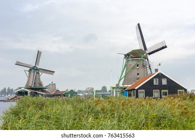 Windmills in Zaanse Schans. The Zaanse Schans is a typically Dutch small village in Amsterdam, Netherlands.