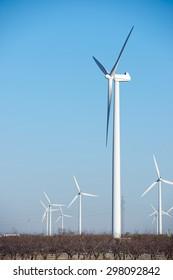 Windmilsl for electric power production, La Muela, Zaragoza Province, Aragon, Spain.