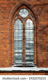 The window of 15th century Kaunas city Cathedral Basilica in Winter (Lithuania).