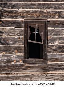 Window in an Abandoned Hand Hewn Log Cabin near Mosier, Oregon