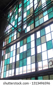 Window in an abandoned industrial building