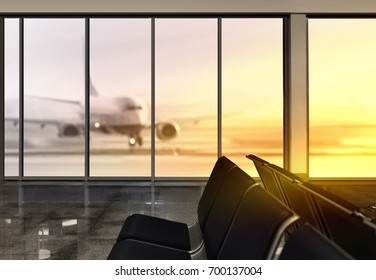 window in airport at morning, plane expects tourists at airport