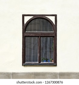 Window of an ancient building. Old Prague, 2018.