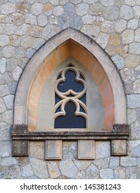 Window arc in wall of church