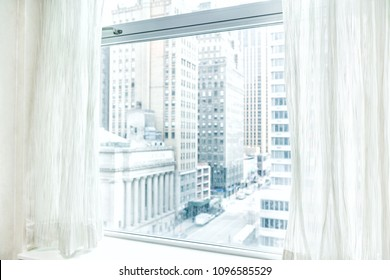 Window blinds curtains with view looking at midtown New York City NYC cityscape skyline in Manhattan hotel, apartment condo high rise building