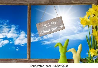 Window, Blue Sky, Herzlich Willkommen Means Welcome