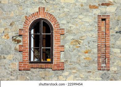 Window with brick around