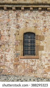 Window of the castle Montjuic in Barcelona, Spain