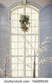 window with Christmas decorations