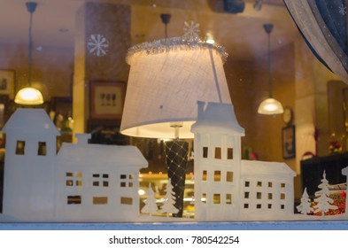 Window of the city cafe. Cozy atmosphere