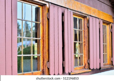Window of a classic wooden house