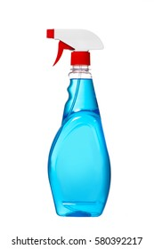 Window cleaner in plastic bottle with spray isolated on white background. Blue color window cleaner with red cap