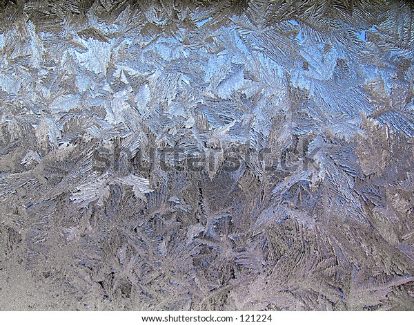 Window covered with ice. Texture of ice crystals.