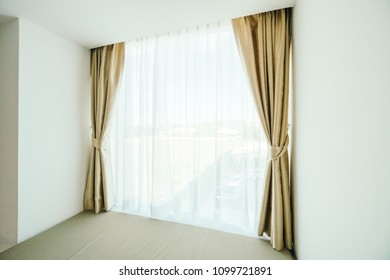 Window with curtain decoration interior of room