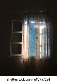 Window in a dark room