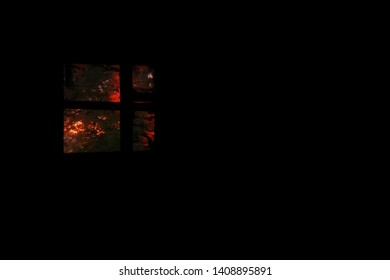 Window in the dark room. Black background. Sunset outside the window. Sad Pic.Background Images